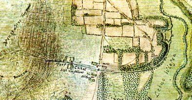 """Ausschnitt aus der Karte von Prätorius 1770, in Curt Ochwadt """"Das Steinhuder Meer"""". In dieser Karte sind eingetragen der """"Torf Canal, stark verschlemmt"""" und der """"Moorkrug"""". Demnach ist der Schiffkanal wohl bereits 17 Jahre nach dem Rezess wegen Verschlammung nur eingeschränkt nutzbar"""