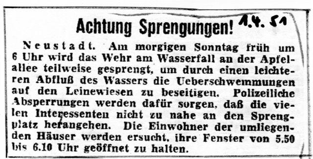 Vermeintlicher Aprilscherz - Sprengung des Leinewehrs 1954