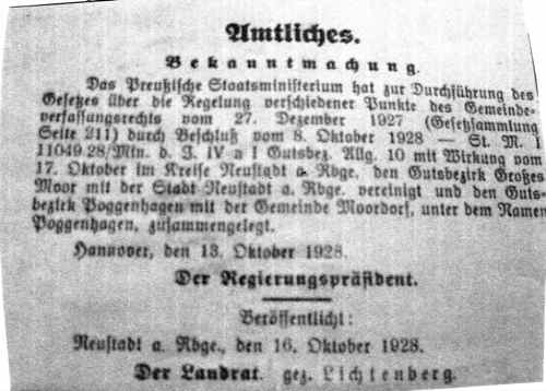 Mit dieser Bekanntmachung reicht Neustast am Rübenberge nun erstmals bis an das Steinhuder Meer
