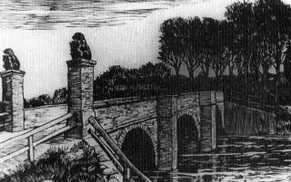 Historische Zeichnung der Löwenbrücke in Neustadt