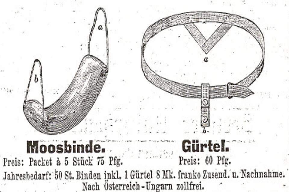 Historische Damenbinden aus Moos - Moosbinde