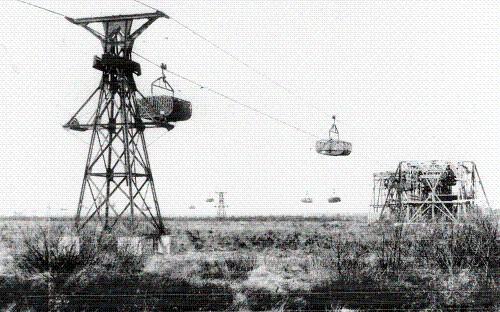 Seilbahn im Toten Moor der Firma Dyckerhoff beim Steinhuder Meer in Niedersachsen
