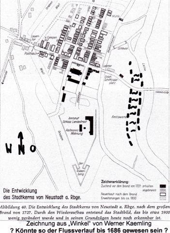 Stadtplan von 1727 mit mutmaßlichem Verlauf der Leine (Fett eingezeichnet)