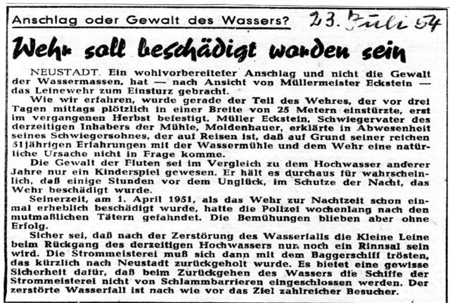 Streit ums Wehr 1954 - Das Wehr soll beschädigt sein