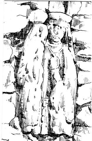 Klages zeichnete für seine Chronik die Madonna mit Kind. Diese soll dem Mythos gemäß die Stelle kennzeichnen, an der das Kind eingemauert wurde