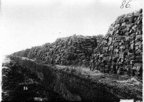 Torfballen trocknen im Toten Moor bei Neustadt -Historischer Torfabbau