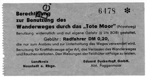 Eintrittskarte für das Moorgelände der Firma Dyckerhoff - Neustadt am Rübenberge
