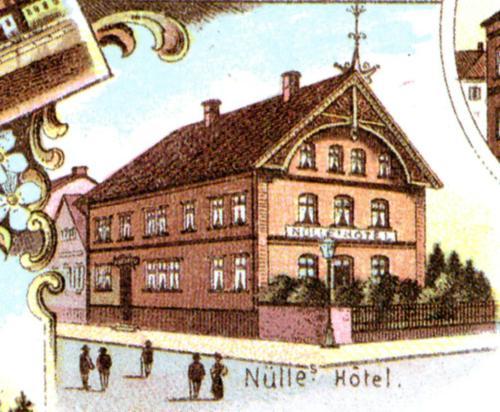 Hotel Nuelle auf einer colorierten Postkarte (Ausschnitt)