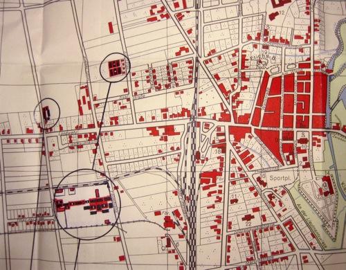 Ausschnitt Stadtplan von 1951 - aus NRÜ III 115 (Bau, Instandsetzung und Abriss der Flüchtlingslager / Baracken in Neustadt)