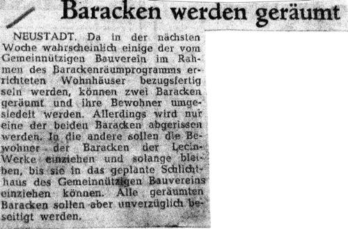 Baracken werden geräumt - Zeitungsnotiz v, 5.9.1960 (Aus NRÜ KA 1366 1957- 1961)
