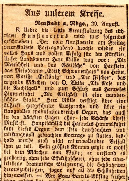"""Pressemitteilung """"aus unserem Kreise"""" von 1921"""