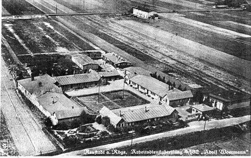 """Lager der Reichsarbeitsdienstabteilung 4/ 182 """"Adolf Woermann"""""""