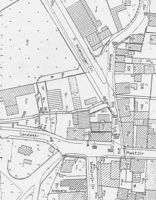Kataster der Innenstadt von Neustadt von ca. 1970