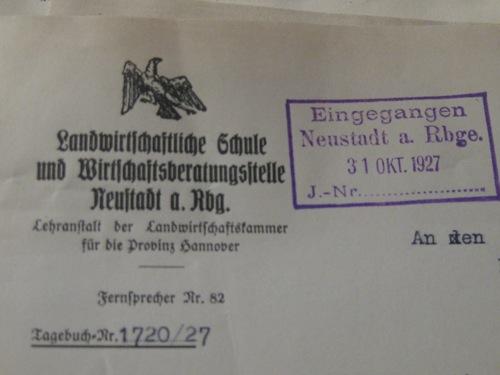 Briefkopf der landwirtschaftlichen Schule in NRÜ