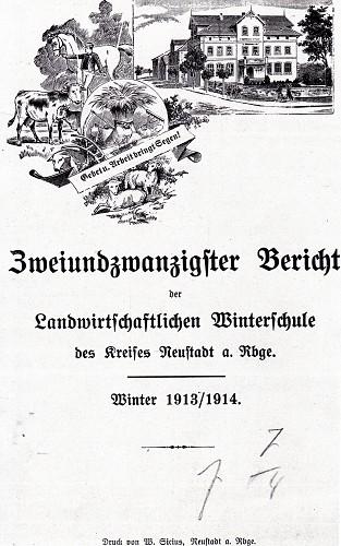 Deckblatt des Jahresberichtes von 1913/14