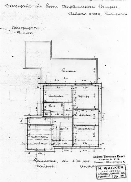 Grundriss des Obergeschosses der Villa Lampert
