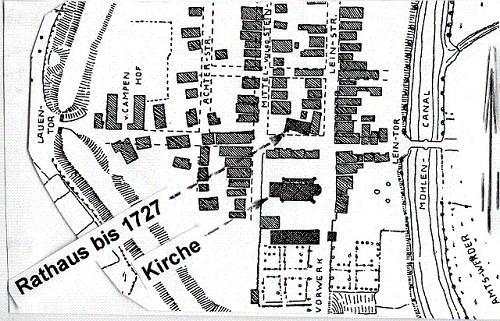 Plan der Stadt Neustadt am Rübenberge etwa 1727