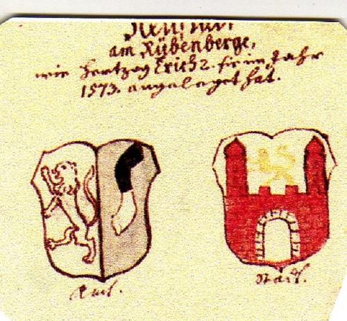 Historische Wappen von Neustadt am Rübenberge bis 1727, nach der Gestaltung von Herzog Erich II aus dem Jahr 1573.