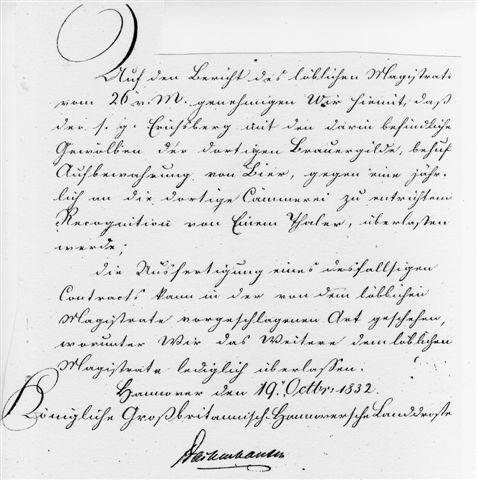 Genehmigung der Landdrostei in Hannover