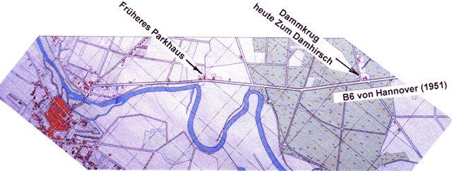 Stadtplan von 1951 zeigt die Lage des Parkhauses