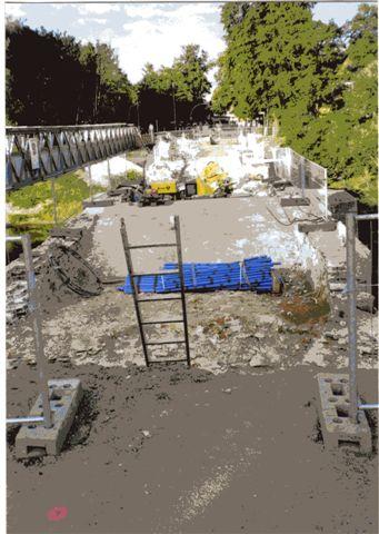 Die Fahrbahn der Löwenbrücke in Neustadt während der Sanierung