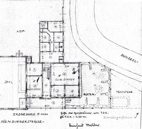 Der Lageplan des Biergartens am Rundeel von 1939 läßt die verkehrliche Enge im Bereich Rundeel, Nienburger Strasse, Marktsstrasse erahnen.