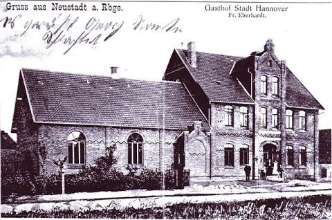 Postkarte des Gasthof Stadt Hannover in Neustadt - heute Gasthof Calenberger Stuben