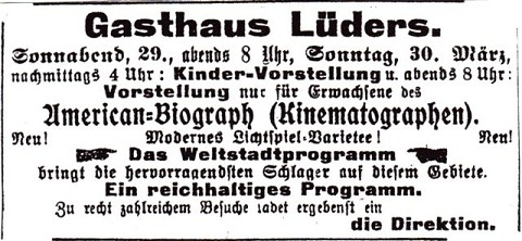 """Anzeige vom 27. März 1913: Über den Kinematograph des Typen """"American Biograph"""" laufen Stummfilme"""