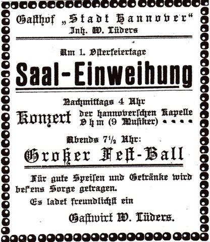 Anzeige vom 11. April 1924: Einweihung des neuen Saals in Neustadt
