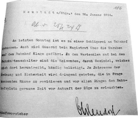 Historische Beschwerde: eine Schlägerei am Bahnhof in Neustadt erregte die Gemüter