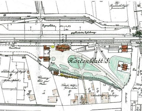 Der historische Lageplan des Bahnhofs zeigt eine Gartenanlage und Grünanlagen