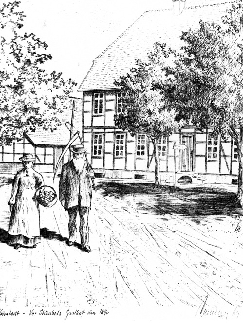 Vor Stünkels Gasthof um 1890, Zeichner des Bildes und Herkunft unbekannt