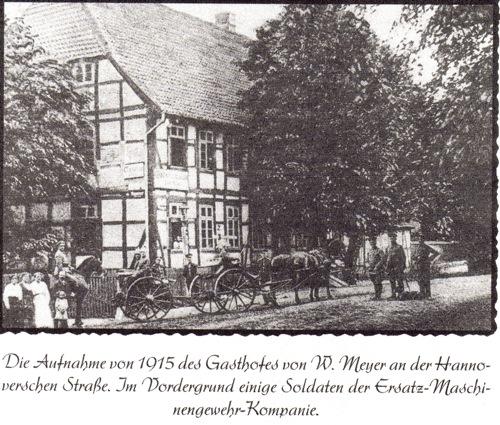 """Aus """"Neustadt am Rübenberge in alten Ansichten"""". Die Postkarte zeigt Meyers Gasthof um 1915. Hrg Philetalisten- Club Neustadt a. Rbge 1996"""