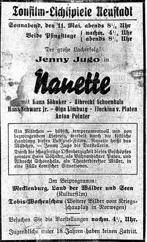 Beliebte Kinofilme des Jahres 1940 liefen auch im Neustädter Kino