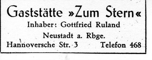 Annonce des Gasthofs zum Ster aus dem Adressbuch von Neustadt am Rübenberge von 1949