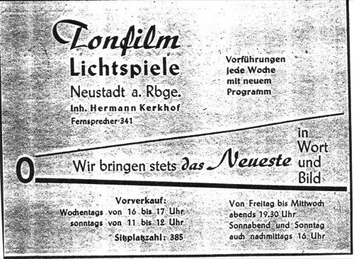 Kinowerbung für das Tonfilm Lichtspiele Kino 1949