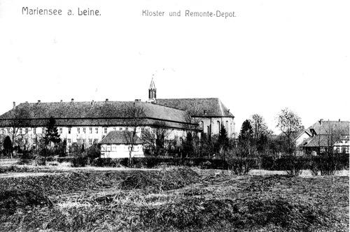"""Postkarte """"Mariensee a. Leine, Kloster und Remonte- Depot"""""""