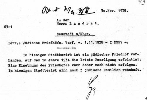 Statusmeldung zum Jüdischen Friedhof in Neustadt durch den Landrat von 1983 (Quelle: Reg Arch Hann NRÜ II 1505)