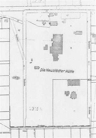 Lageplan von 1936. Ein Vergleich mit dem Plan von 1867/68 zeigt: Bis auf die Villa sind nahezu alle Gebäude nicht mehr vorhanden und durch andere Bauten ersetzt worden.