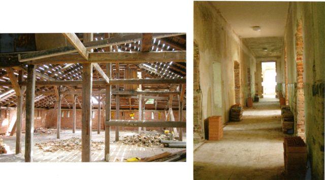 Anfang Juni 2011: Das Dachgestühl wird abgebrochen; Entkernte Flure