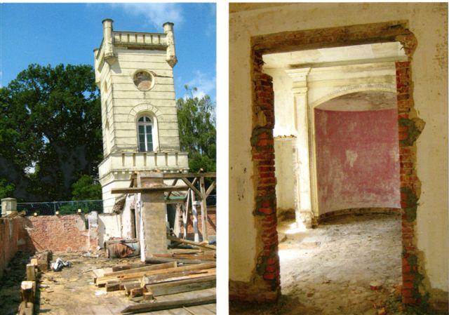 Mitte Juni 2011: Der Dachstuhl ist abgerissen Mauerdurchbruch und gibt den Blick auf den Turm frei