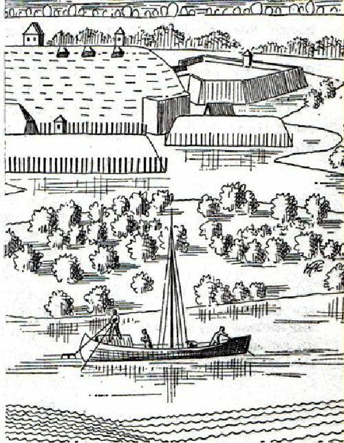 Merian Stich mit Boot auf der Leine