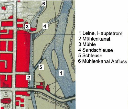 Dieser Plan zeigt die Lage der Schleuse und ihrer Wasserverbindungen