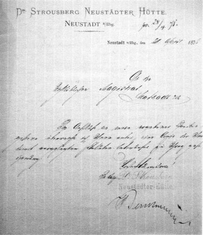 Ein Brief an den Magistrat von Neustadt als das Unternehmen noch blühte. (8)