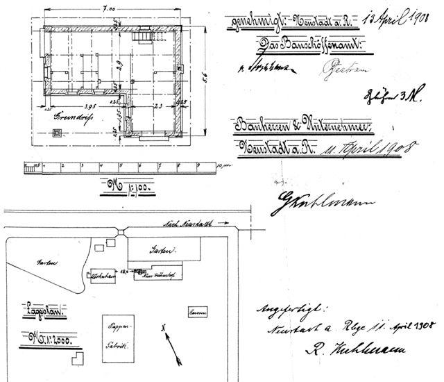 Ausschnitt aus einem Bauantrag von 1908 (17)