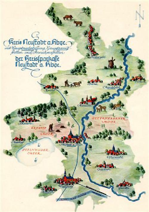 Karte der Niederlassungen der Sparkassen im Landkreis Neustadt a. Rbge