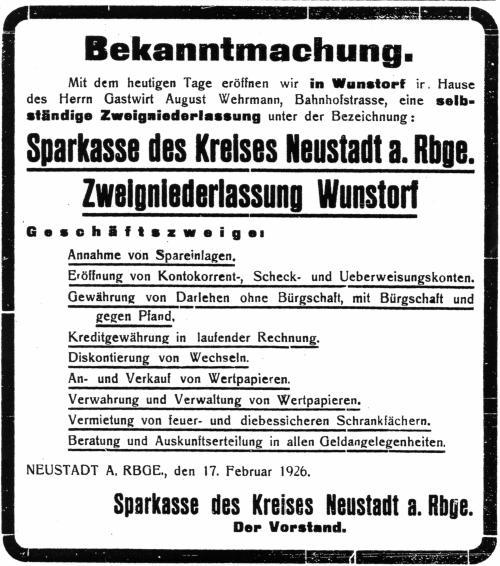 Bekanntmachung der Sparkasse Neustadt am Rübenberge