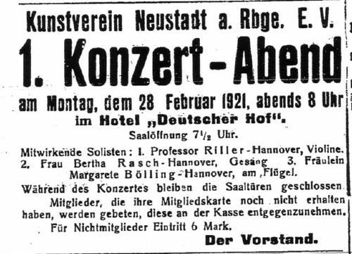 Die erste Konzertankündigung des Kunstvereins in Neustadt am Rübenberge