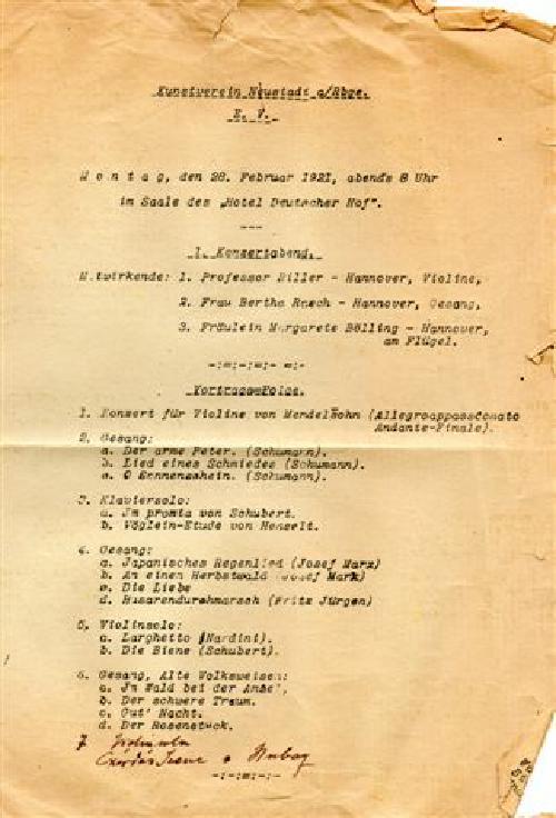 Abendprogramm des ersten Konzerts des Kunstvereins