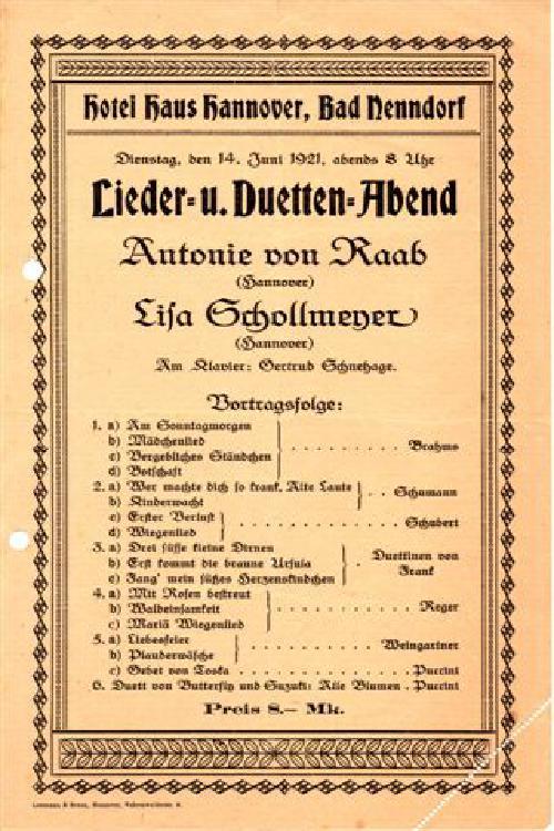 Lieder- und Duettenabend mit Antonie von Raab und Lisa Schollmeyer